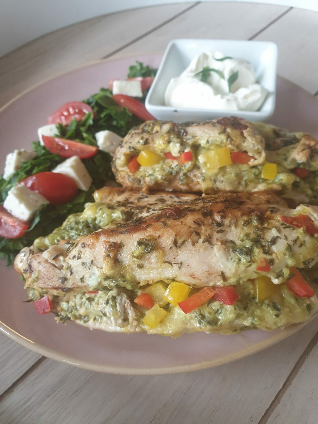 Kyllingfilet fylt med kremet spinat
